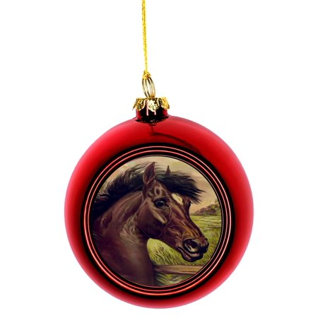 Christmas Horse Decorations.Horse Ornaments Christmas Vintage Style Chestnut Horse Bauble Christmas Ornaments Red Bauble Tree Xmas Balls