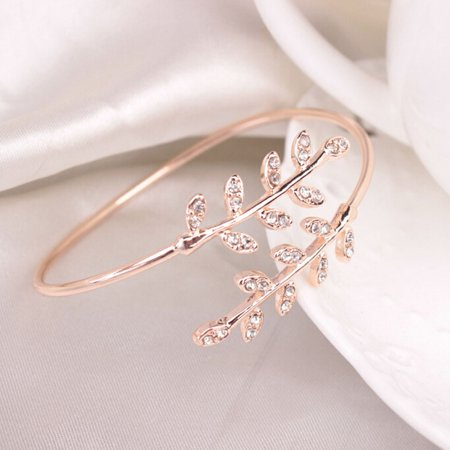 Mosunx Fashion Women Leaf Cuff Charm Open Bracelet Bangle Arm Jewelry ()