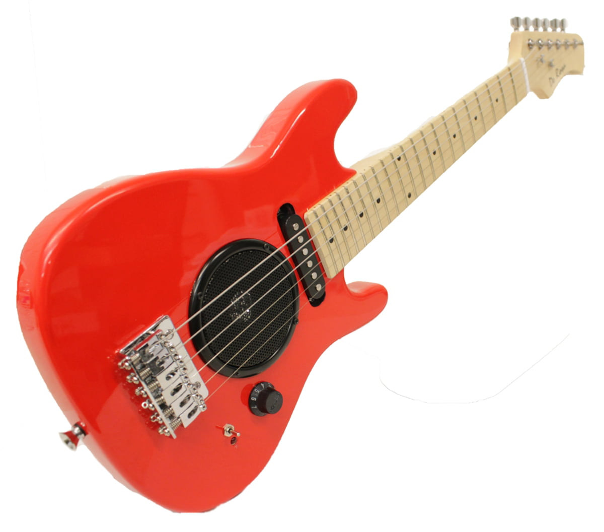 "Child	s Toy 9"" Electric Guitar w/ Built-in Amp - Includes Case & Acc. Kit  - Red"