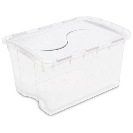 Sterilite 1914 Single 48 Quart Clear Base Hinged Lid Storage Box Tote Container - image 7 de 12