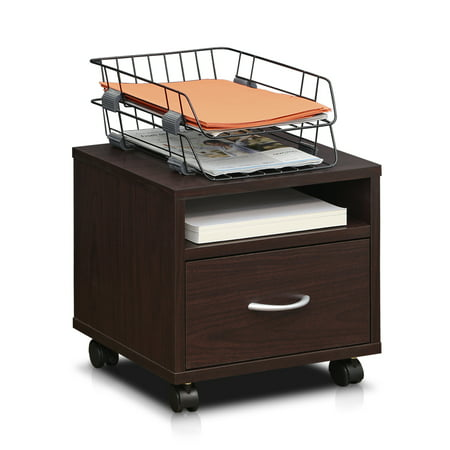 Furinno Indo Pee Under Desk Utility Cart With Casters Espresso