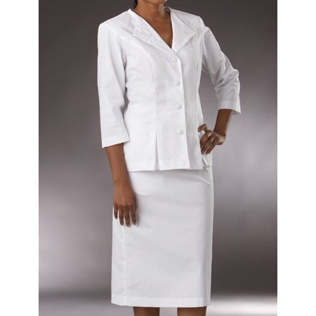 Scrub Suit (Med Couture 3/4 Sleeve 2-Piece Embroider Collar Suit Scrub Top)