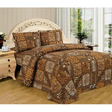 Black Brown Leopard Zebra King Size Sheet Set 4 Pc Safari Animal Print Pillow Shams Bedding Design 3018