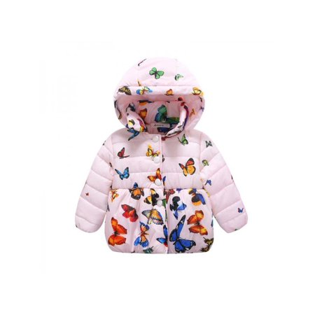 Infant Baby Winter Warm Jacket Coat Toddler Cotton Butterfly Outwear 0-24M