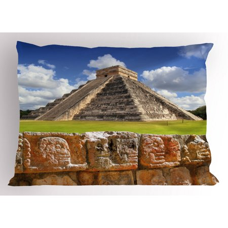 Ancient Pillow Sham Wall of Skulls and Kukulkan Pyramid El Castillo Scenery Photo, Decorative Standard Size Printed Pillowcase, 26 X 20 Inches, Lime Green and Charcoal Grey, by Ambesonne ()