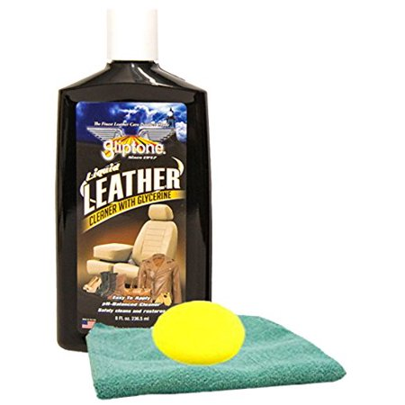 Gliptone Leather Cleaner (8 oz.) Bundle With Microfiber Cloth & Foam Pad (3 Items) (Leather Master Foam Cleaner)