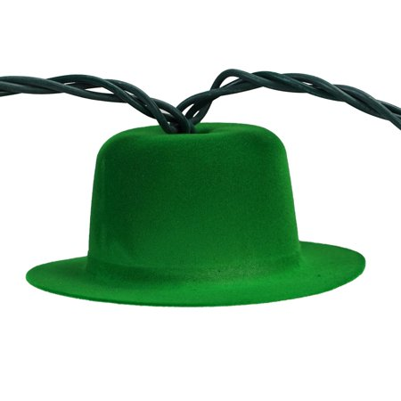 Set of 10 Green Derby Hat St. Patrick's Day Novelty Lights - Green Wire - Kids Derby Hats