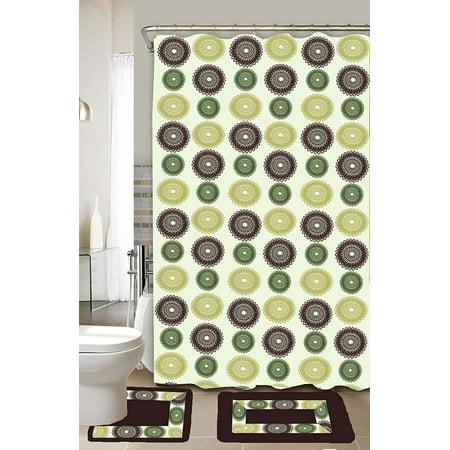 Donna Green & Yellow 15-Piece Bathroom Accessory Set 2 Bath Mats Shower Curtain &