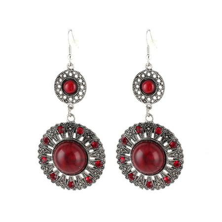 Vintage Style Red Beads Decor Dangle Pendant Hook Earring Eardrop Pair