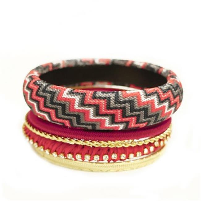 C Jewelry Red Mixed Chevron Cotton With Gold Bangles, Set Of 7 Pieces