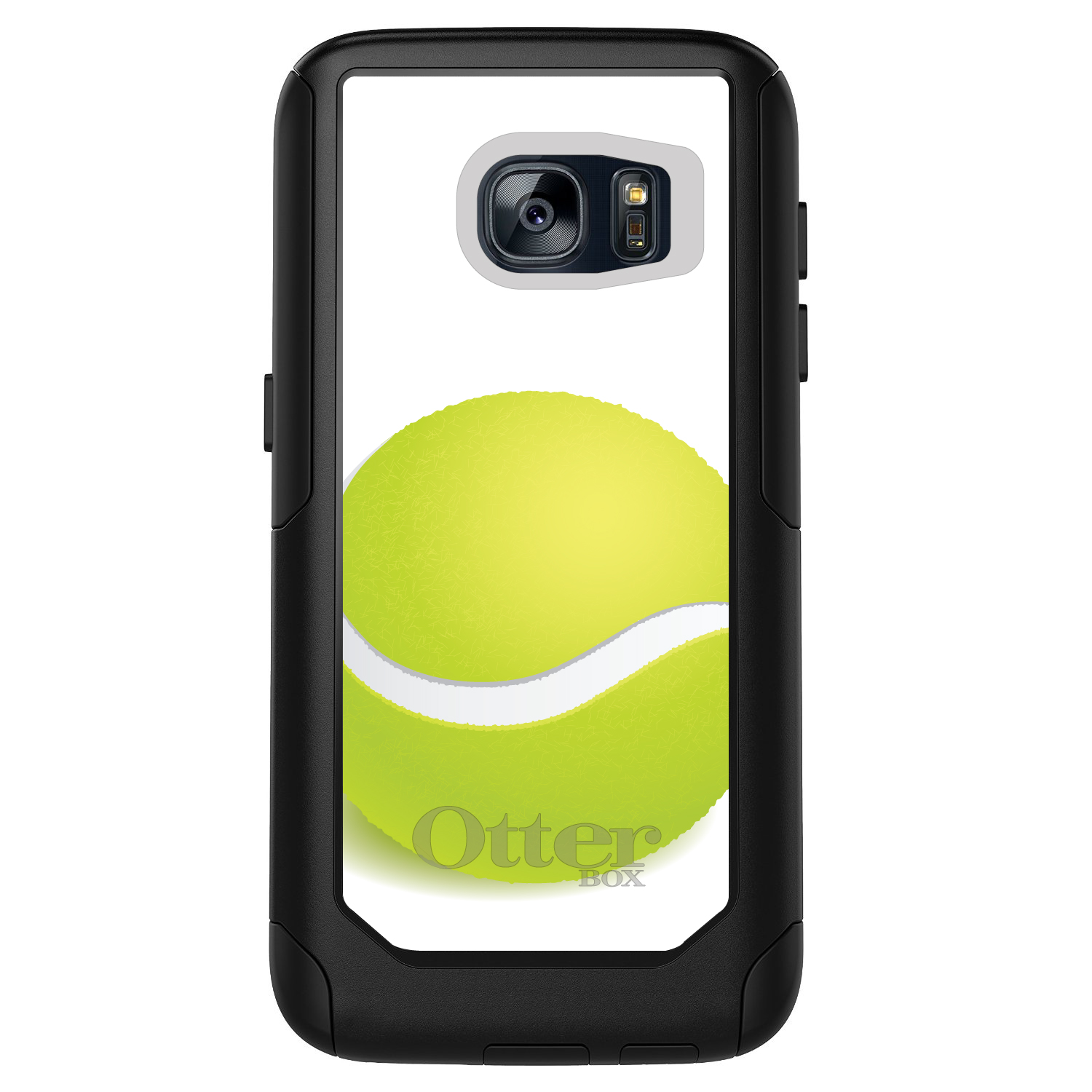DistinctInk™ Custom Black OtterBox Commuter Series Case for Samsung Galaxy S7 - Green Tennis Ball