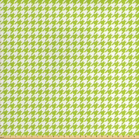 Houndstooth Fabric by The Yard, Abstract Textile Pattern Scottish Four-Pointed Checks Motif, Decorative Fabric for Upholstery and Home Accents, by Ambesonne