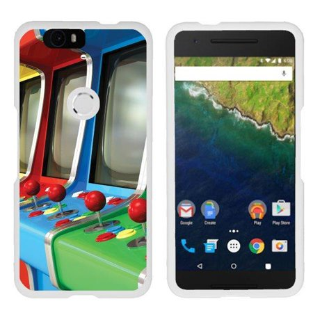 TurtleArmor ®   For Huawei Nexus 6P   Google Nexus 6P [Slim Duo] Two Piece  Hard Cover Slim Snap On Case - Arcade Games