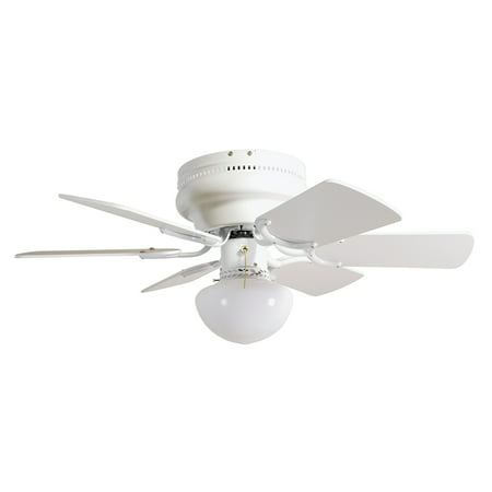 "Design House 152991 Atrium Hugger Mount Ceiling Fan 30"", Reversible Blades (White/Bleached Oak), White"