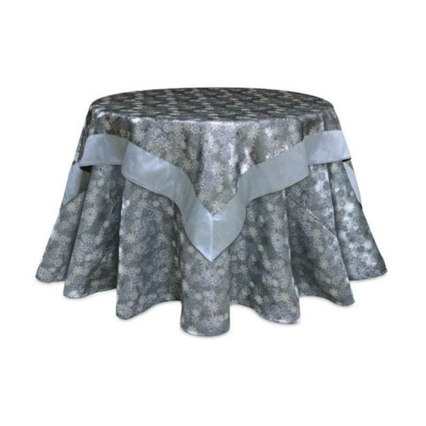 54 Gray And Silver Jacquard Snowflake Square Christmas Tablecloth Walmart Com Walmart Com