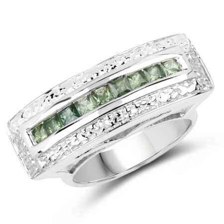925 Sterling Silver & 14K Yellow Gold Plated Genuine Green Sapphire Ring (1.08 Carat) Size 7.5
