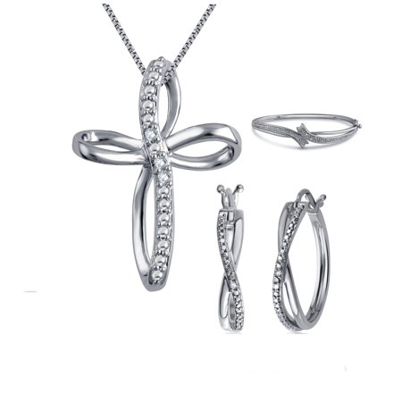 Gorgeous 0.27 Carat Diamond Accent  3 Piece Criss Cross Hoop Necklace Earrings & Bangle Set In 14K White Gold Plated ()