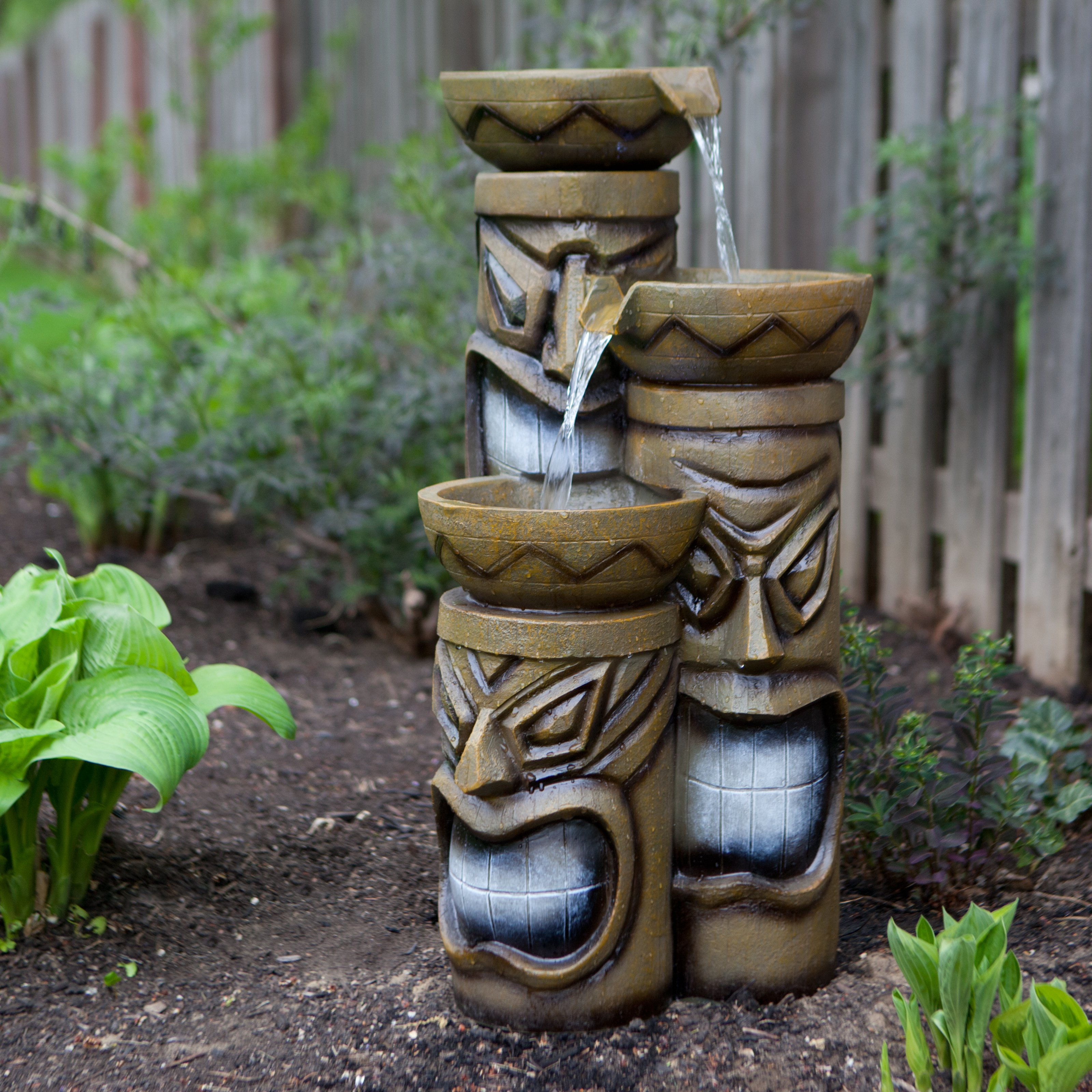 Alpine Island Tiki Indoor/Outdoor Fountain with Lights