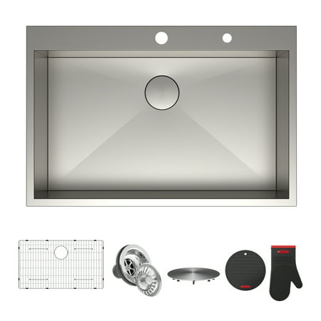 "Pre Rinse Sink (KRAUS Pax™ Zero-Radius 33"" Single Bowl Stainless Steel Drop-In Kitchen Sink with 2 Pre-Drilled Holes )"