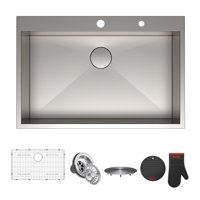 "KRAUS Pax™ Zero-Radius 33"" Single Bowl Stainless Steel Drop-In Kitchen Sink with 2 Pre-Drilled Holes"