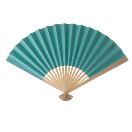 Koyal Wholesale Decorative Paper Fans, Tiffany Blue, Set of 10