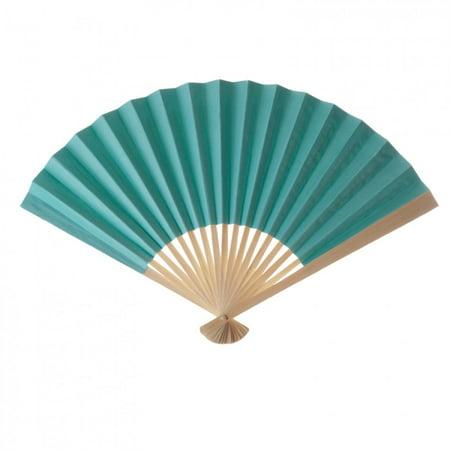 Koyal Wholesale Decorative Paper Fans, Tiffany Blue, Set of 10 for $<!---->