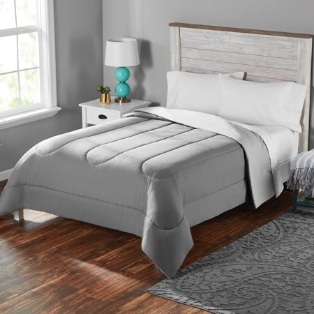 Mainstays Solid Brushed Microfiber Reversible Comforter, Grey/Silver, Twin/Twin XL