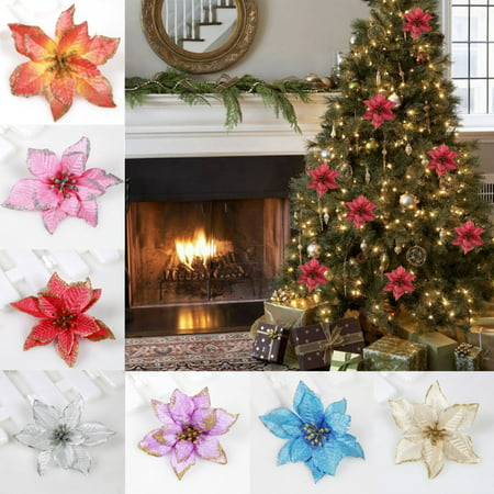 Moaere 10Pcs Glitter Christmas Flower Xmas Tree Ornaments Wedding Party Holiday Decor ()