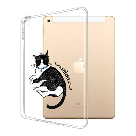 FINCIBO Soft TPU Clear Case Slim Protective Cover for Apple iPad Air 2, Tuxedo Cat Waking