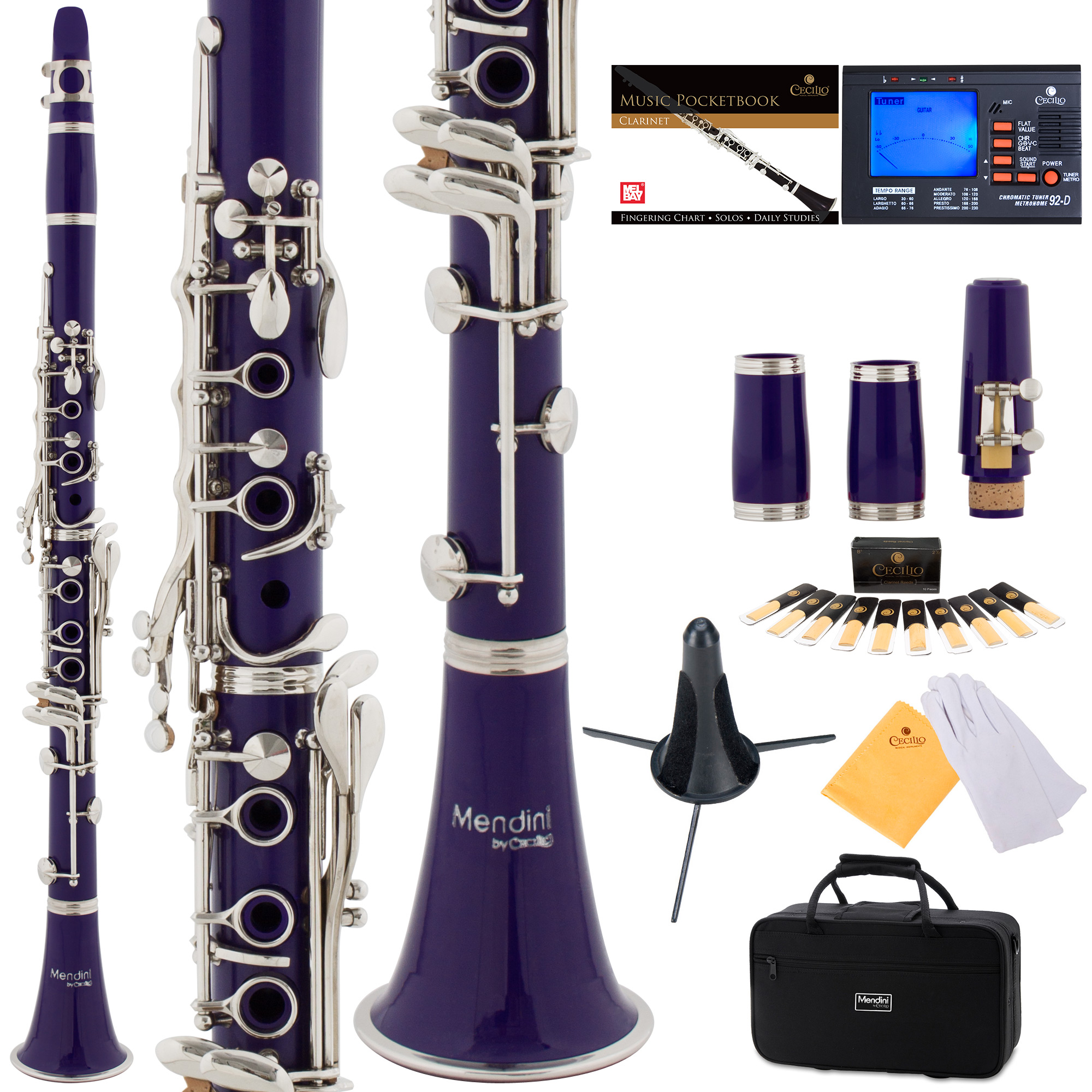 Mendini by Cecilio MCT-2P Purple ABS Bb Clarinet w/ 2 Barrels, 1 Year Warranty, Stand, Tuner, 10 Reeds, Pocketbook, Mouthpiece, Case, B Flat