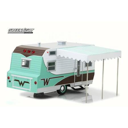 1964 Winnebago 216 Travel Trailer, Mint Green - Greenlight 18430B/12 - 1/24 Scale Diecast Model Toy -