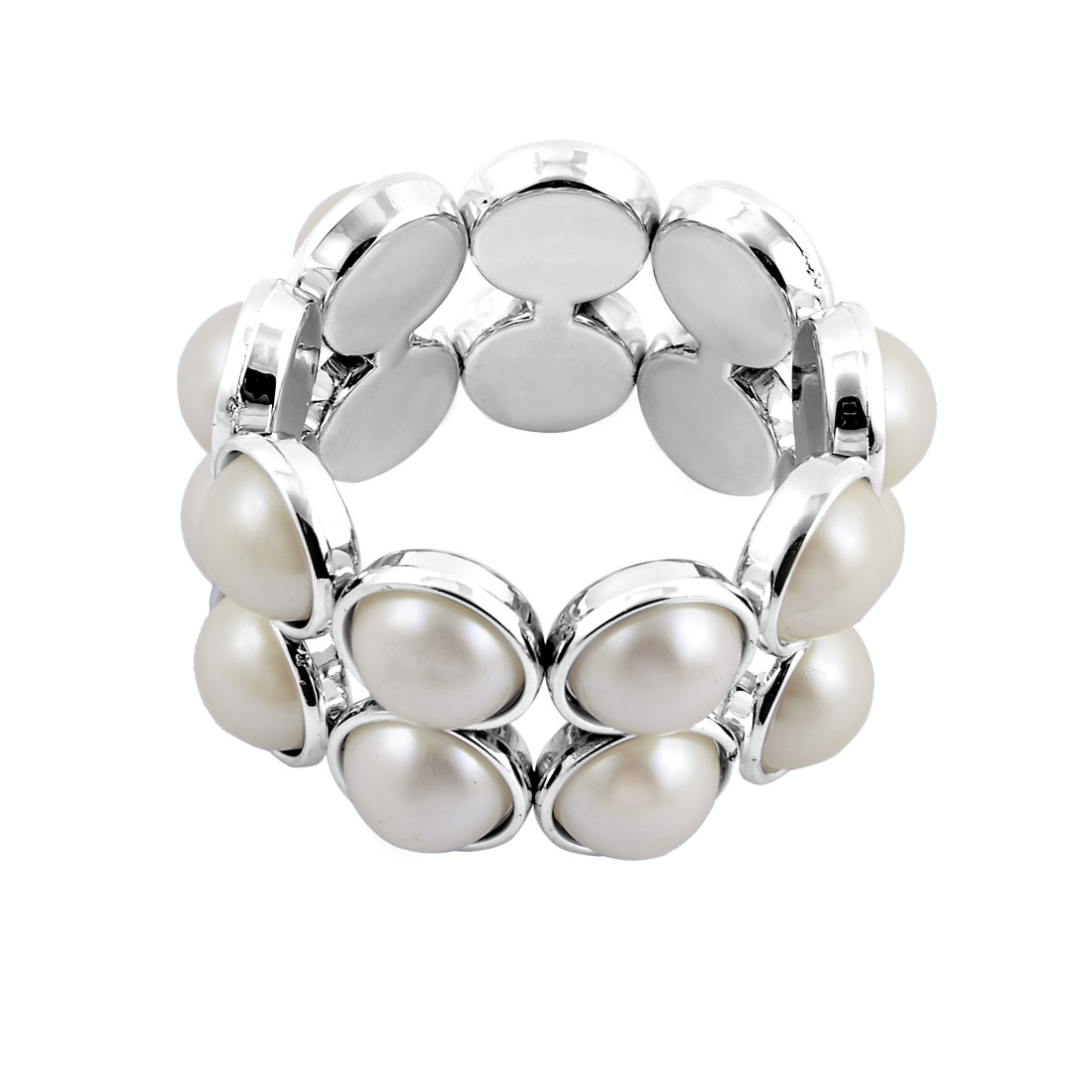 Lady Plastic Imitation Pearl Inlaid 2 Rows Elastic Cord Bracelet Silver Tone - image 2 de 2