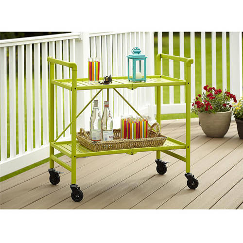 Cosco Metal Slat Folding Serving Cart, Apple Green