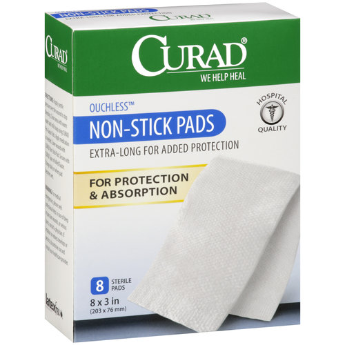 "Curad Ouchless Non-Stick Sterile Pads, 8"" x, 3"", 8ct"