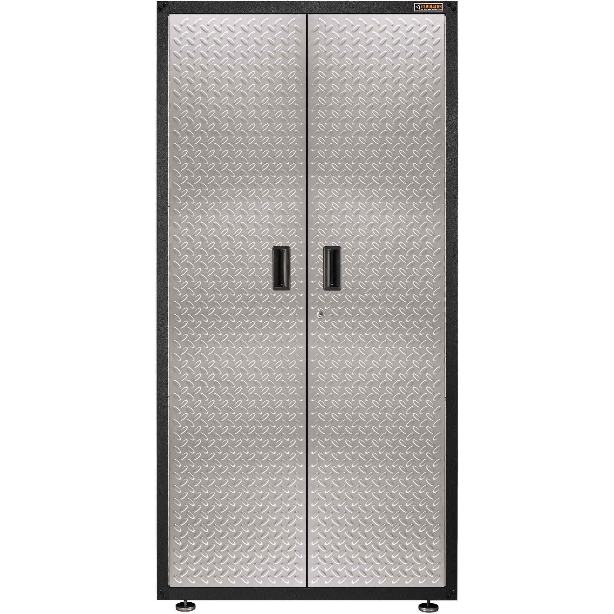 Gladiator Ready-To-Assemble 36 in. W x 18 in. D x 72 in. H Steel Freestanding Garage Cabinet in Silver Tread