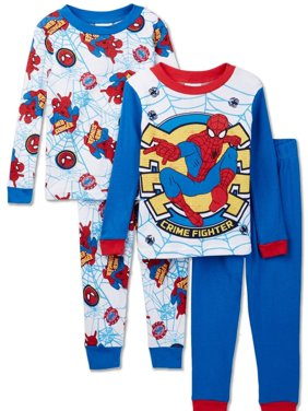 Marvel Spiderman 4 Piece Cotton Pajama Set, Toddler Sizes 2T-4T