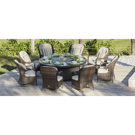 Image of Round Brown 8-Seat Gas Fire Pit Outdoor Dining Table Rattan Wicker Patio Multi Purpose Use BBQ Grill Plate With Stainless Steel Fire Pit Cover, Glass Enclosure Wind Screen and Crushed Fire Glass