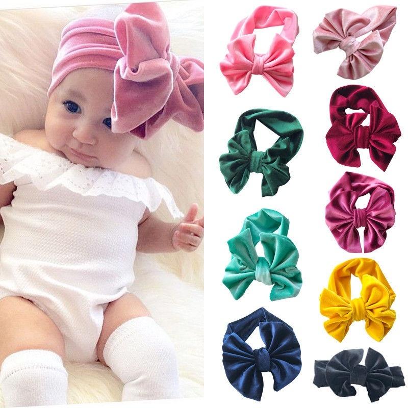 NEW Baby Toddler Kids Girl Large Bow Pleuche Elastic Headband Hair Band Headwear
