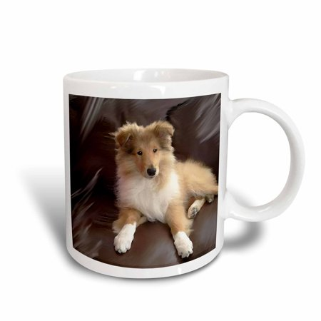 Rough Haired Collie (3dRose Rough Collie Puppy, Ceramic Mug, 11-ounce)