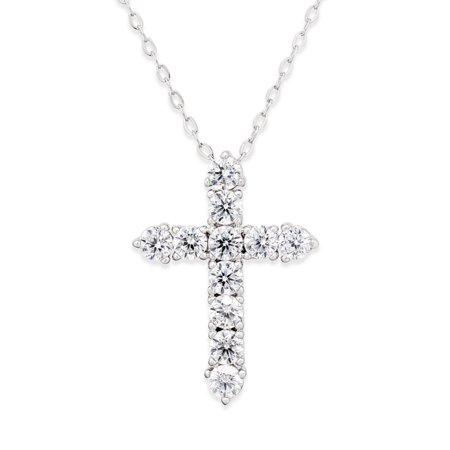 Novadab Cubic Zirconia Silver 925 Cross Sterling Silver Pendant Necklace Cross Tag Sterling Silver Pendant
