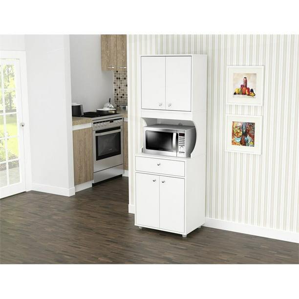 Inval Galley Laminate Kitchen Microwave Cabinet Open Storage White Walmart Com Walmart Com