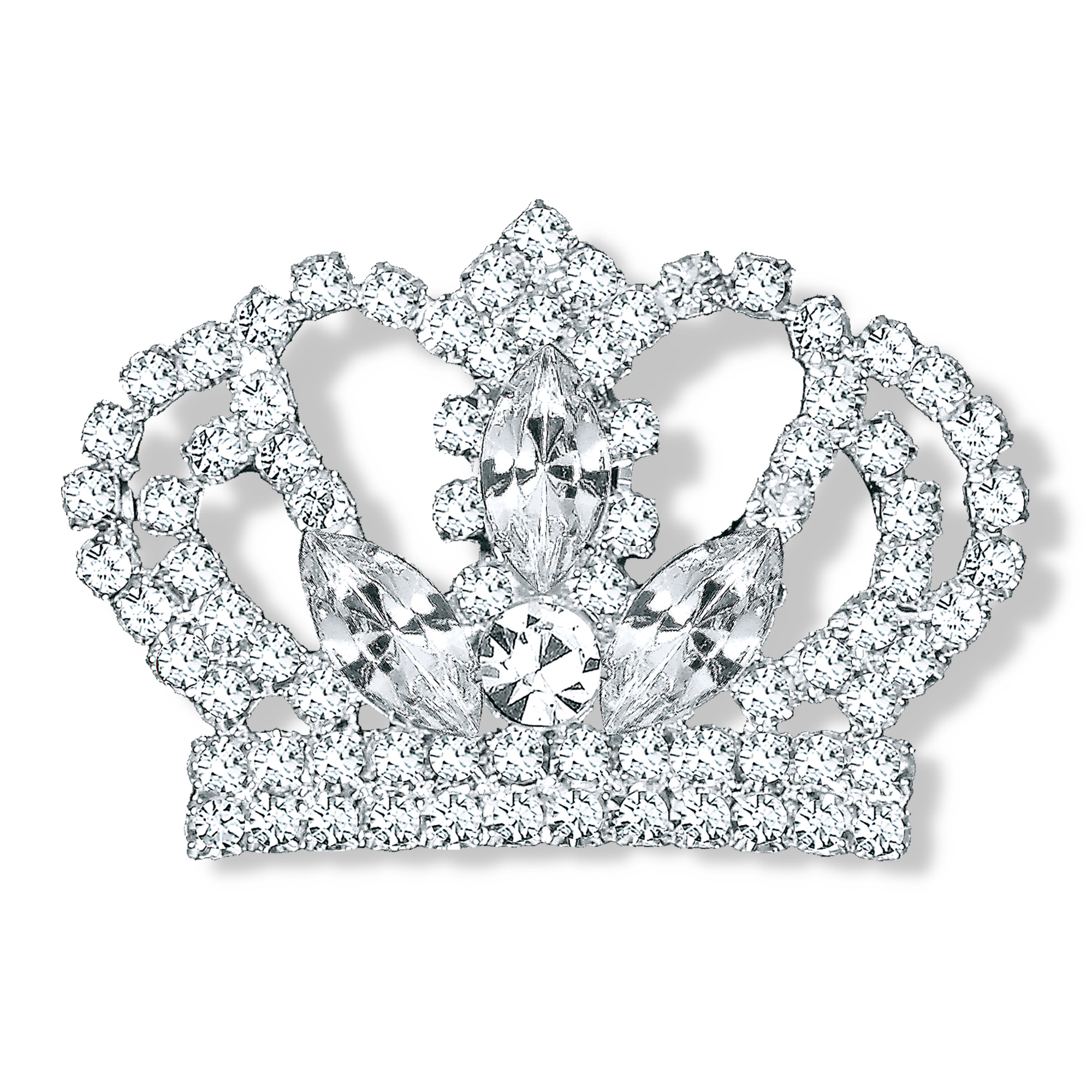 Glamour Goddess Jewelry WPGT200 Pageant Pin Rhinestone Royal Crown Pin Brooch Crystal Silver Plated by