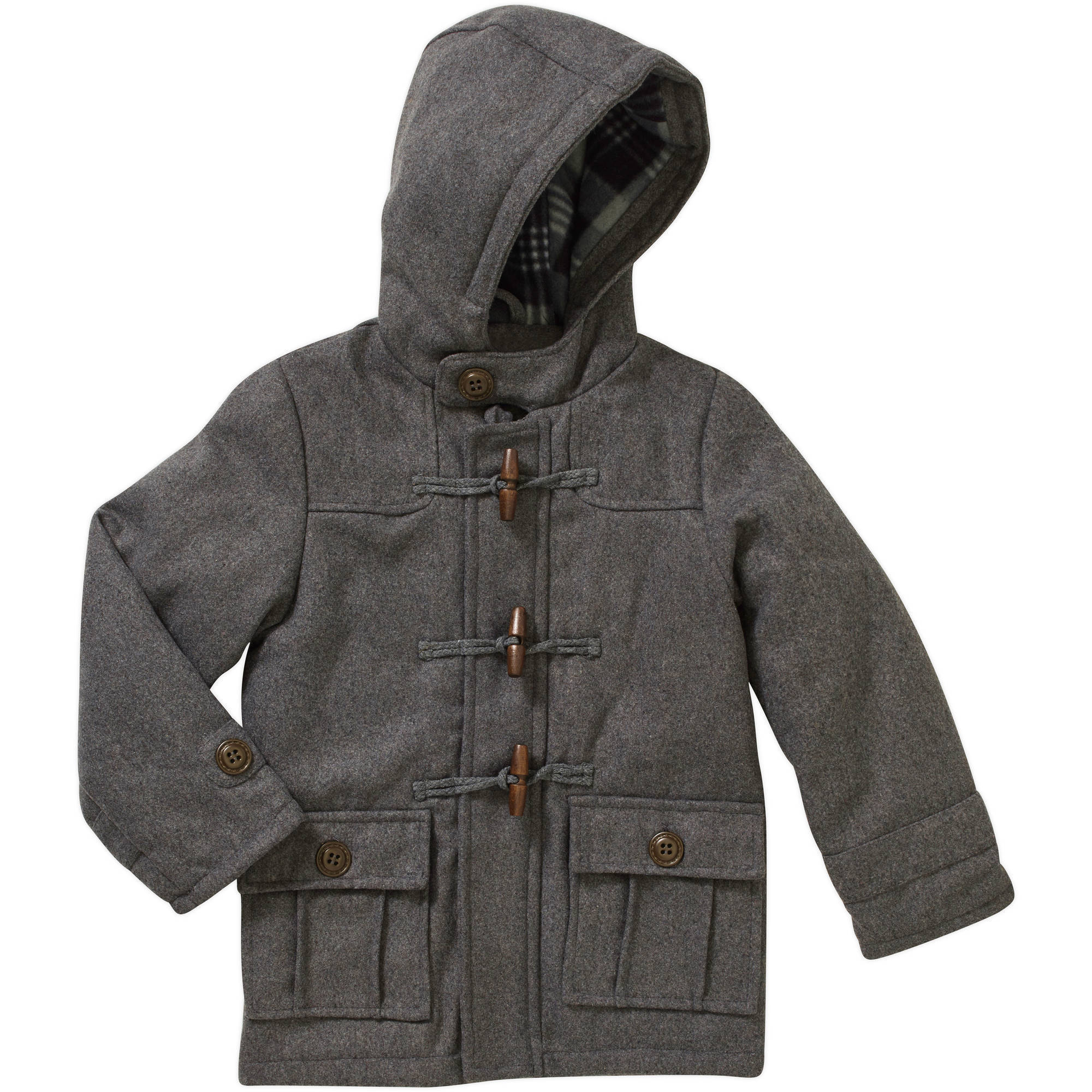 Climate Concepts Boys Faux Wool Hooded Toggle Coat with Plaid Polar Fleece Lined Hood