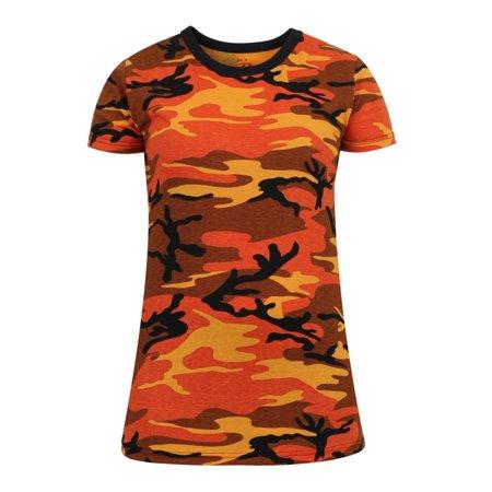 Rothco Womens Long Length Camouflage T-Shirt, Savage Orange Camo, XL