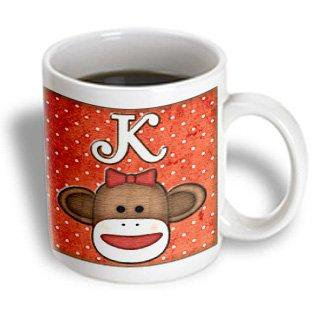 3dRose Cute Sock Monkey Girl Initial Letter K, Ceramic Mug, - Sock Monkey Girl