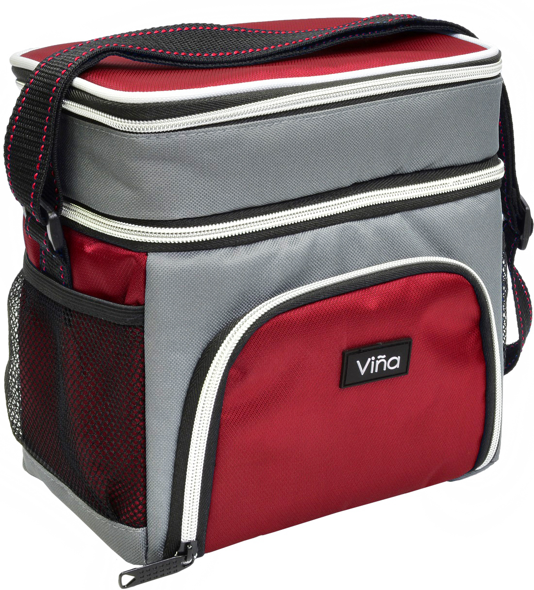 Vina 600D Lunch Bag Cooler Tote - Thermal Insulated Double Compartment with Zipper Closure Adjustable Shoulder Strap - Grey/Red