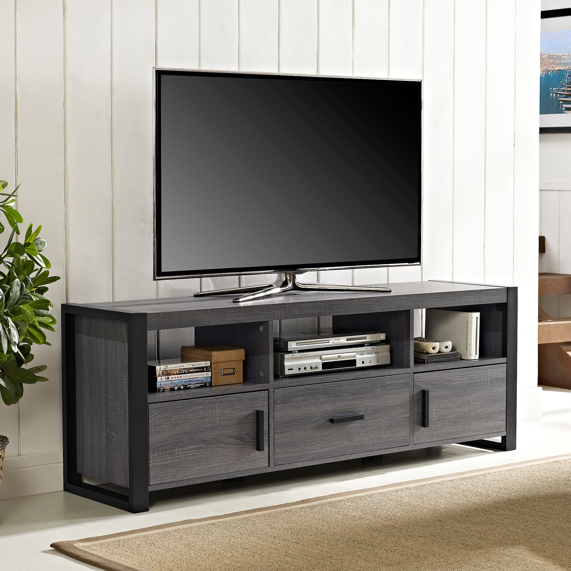 """Apartment AH City Grove Black and Charcoal TV Stand for TVs up to 65"""""""