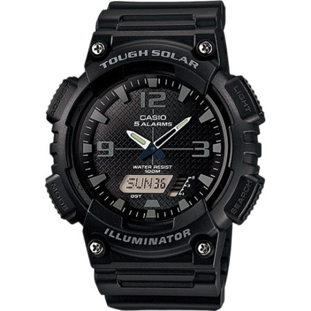 Men's Solar Sport Combination Watch, Black Resin -