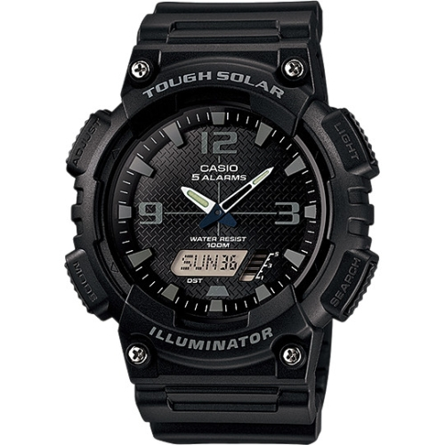 Men's Solar Sport Combination Watch, Black Resin Strap