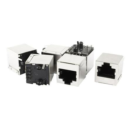 Unique Bargains 6 Pcs Cat5 Network Ethernet Shielded PCB Mount RJ45 8P8C Socket Connetor